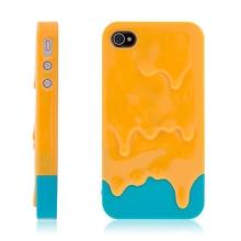 Plastový kryt pro Apple iPhone 4 / 4S - tající zmrzlina - oranžovo-modrý