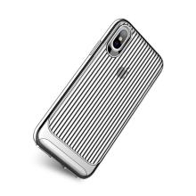 Kryt USAMS pro Apple iPhone X - vroubkovaný - plastový / gumový - průhledný / stříbrný