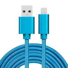 Synchronizační a nabíjecí kabel - Lightning pro Apple zařízení - tkanička - kovové koncovky - modrý - 3m