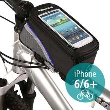 Sportovní pouzdro na kolo pro Apple iPhone 6 / 6S a zařízení vel. až 5,5 + úschovný prostor - černo-modré s reflexním pruhem
