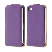 Kryt / pouzdro pro Apple iPhone 4 / 4S - pravá kůže - fialový