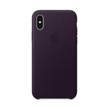 Originální kryt pro Apple iPhone X - kožený - lilkově fialový