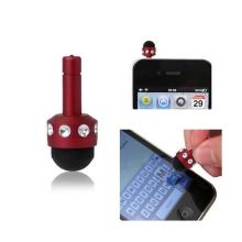 Dotykové pero / stylus mini - antiprachová záslepka na jack konektor - červené