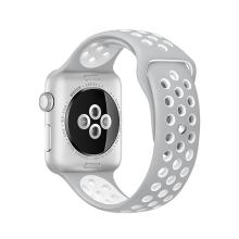 Řemínek pro Apple Watch 40mm Series 4 / 38mm 1 2 3 - silikonový - šedý / bílý - (S/M)