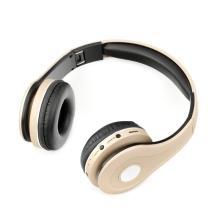Sluchátka Bluetooth bezdrátová - mikrofon + ovládání - FM rádio - Micro SD slot - 3,5mm jack vstup - zlatá