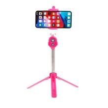 Selfie tyč / monopod + stativ / tripod - Bluetooth spoušť - plastová - růžová