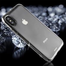 Kryt pro Apple iPhone X - gumový - lesklé kamínky na obvodu - stříbrný