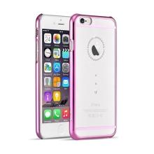 Kryt DEVIA pro Apple iPhone 6 / 6S - plastový / růžový rámeček a kamínky Swarovski - průhledný
