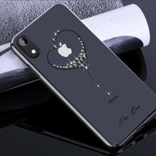 Kryt KINGXBAR pro Apple iPhone Xr - průhledný s kamínky Swarovski - srdce - černý