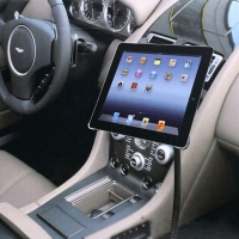 Ohebný kovový stojan do automobilu s rotačním nastavitelným držákem pro Apple iPad a podobná zařízení - černý