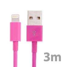 Synchronizační a nabíjecí kabel Lightning pro Apple iPhone / iPad / iPod - silný - růžový - 3m