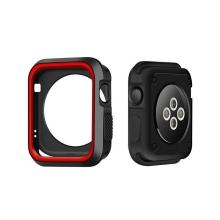 Kryt / rámeček pro Apple Watch 42mm 1 / 2 / 3 series - sportovní - silikonový - černý / červený
