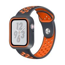 Řemínek pro Apple Watch 44mm Series 4 / 42mm 1 2 3 + ochranný rámeček - silikonový - černý / oranžový