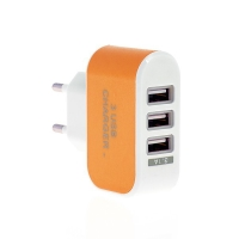 EU napájecí adaptér / nabíječka s 3 USB porty (3.1A) - oranžová