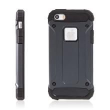 Kryt pro Apple iPhone 5 / 5S / SE - plasto-gumový / antiprachové záslepky - modro-šedý