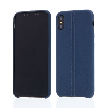 Kryt USAMS Joe pro Apple iPhone X - umělá kůže - modrý