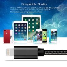 Synchronizační a nabíjecí kabel - Lightning pro Apple zařízení - tkanička - kovové koncovky - černý - 1m