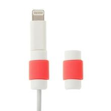 Plastová ochrana / rozlišovač na standardní tloušťku nabíjecích / synchronizačních kabelů - bílo-červená