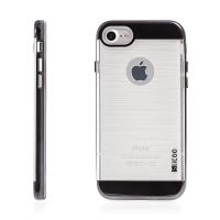 Kryt SLiCOO pro Apple iPhone 7 / 8 gumový / černý plastový rámeček - broušený vzor - průhledný