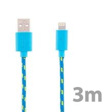 Synchronizační a nabíjecí kabel Lightning pro Apple iPhone / iPad / iPod - tkanička - modrý - 3m