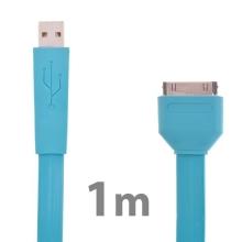 Plochý synchronizační a nabíjecí USB kabel pro Apple iPhone / iPad / iPod - modrý