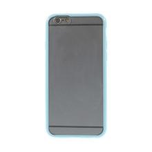 Kryt pro Apple iPhone 6 / 6S - gumový plastový / modrý rámeček - matný průhledný