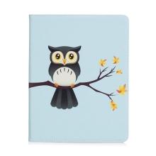 Pouzdro pro Apple iPad 2 / 3 / 4 - stojánek + prostor pro platební karty - sova na větvi