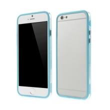 Plasto-gumový rámeček / bumper pro Apple iPhone 6 / 6S - světle modrý s průhledným pruhem