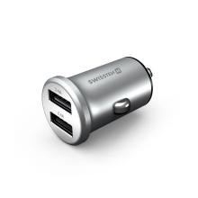 Autonabíječka / adaptér SWISSTEN - 2x USB (4,8A) - kovová - stříbrná