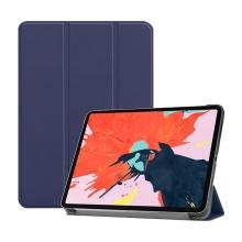 """Pouzdro / kryt pro Apple iPad Pro 12,9"""" (2018) - funkce chytrého uspání + stojánek - umělá kůže - tmavě modré"""