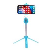 Selfie tyč / monopod + stativ / tripod - Bluetooth spoušť - plastová - modrá