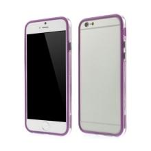 Plasto-gumový rámeček / bumper pro Apple iPhone 6 / 6S - fialový s průhledným pruhem