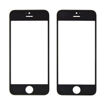 Náhradní přední sklo pro Apple iPhone 5 / 5C / 5S / SE - černý rámeček - kvalita A