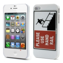 Ochranný plastový kryt pro Apple iPhone 4 / 4S - PLEASE USE HAND RAIL - skejťák