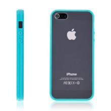 Ochranný plastový kryt pro Apple iPhone 5 / 5S / SE - průhledný s tyrkysovým gumovým rámečkem