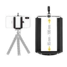 Univerzální nastavitelný držák na stativ / selfie tyč pro Apple iPhone a další telefony - šířka 6,5 - 10cm - černý