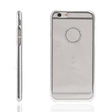 Kryt DEVIA pro Apple iPhone 6 / 6S - plastový / stříbrný rámeček a kamínky Swarovski - průhledný