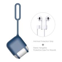 Pouzdro / obal pro Apple AirPods - silikonové - poutko na zavěšení + šňůrka k AirPods - modré