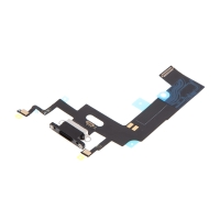 Napájecí a datový konektor s flex kabelem + GSM anténa + mikrofony pro Apple iPhone Xr - černý - kvalita A+