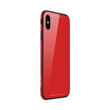 Kryt SULADA pro Apple iPhone Xs Max - kov / sklo - červený