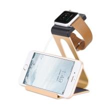 Hliníkový nabíjecí stojánek HOCO pro Apple iPhone a Apple Watch 38mm / 42mm - zlatý