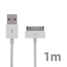 Synchronizační a nabíjecí kabel s 30pin konektorem pro Apple iPhone / iPad / iPod - silný - bílý - 1m - kvalita A