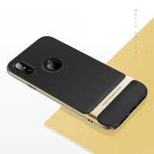 Kryt ROCK Royce pro Apple iPhone X - gumový / plastový - černý / zlatý rámeček
