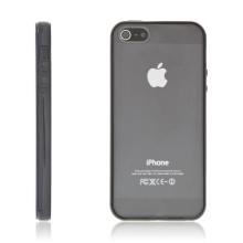 Ochranný plastový kryt pro Apple iPhone 5 / 5S / SE - průhledný s černým gumovým rámečkem
