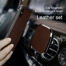 Držák NILLKIN magnetický na ventilační mřížku auta / bezdrátová nabíječka Qi / kryt - pravá kůže - hnědý
