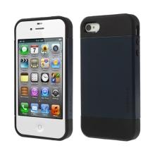 Kryt SLIM ARMOR pro Apple iPhone 4 / 4S - plast / guma - černý / tmavě modrý