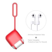 Pouzdro / obal pro Apple AirPods - silikonové - poutko na zavěšení + šňůrka k AirPods - červené