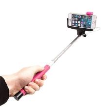 Teleskopická selfie tyč / monopod KJstar - kabelová spoušť - růžová