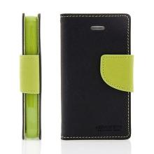 Pouzdro Mercury Fancy Diary pro Apple iPhone 4 / 4S, stojánek a prostor pro platební karty - černé zelené