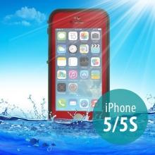 Voděodolné plastové pouzdro Redpepper pro Apple iPhone 5 / 5S / SE s podporou funkce Touch ID - červené s černým rámečkem